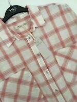 LADIES M&S INDIGO SIZES 14 OR 16 COTTON BLEND PEACH BLOUSE SHIRT FREE POST