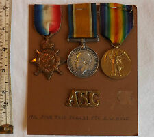 Military Mons Star 1914 Trio Medal Group Pte S.W.Hone ASC Badge (2560)