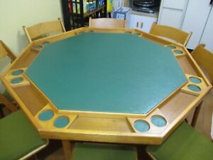 Octagonal Folding  Poker Table and chairs
