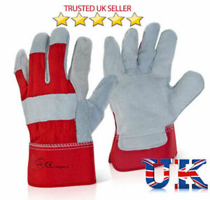 10 x Heavy Duty Rigger Gloves Cut Proof Canadian Leather Gardening Builders Work
