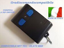 RADIOCOMANDO COMPATIBILE BFT TO1 30,875 MHZ MONOC. CODIF. DIP SWITCH (T. GRIGIO)