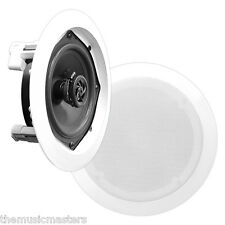 """Pair White 6.5"""" inch 6 1/2"""" Round Ceiling Wall Home Audio Stereo Sound Speakers"""