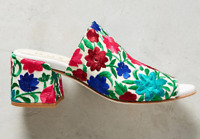Embroidered Ouigal Phoebe Mule Slides Sandals Sz 37 US 6.5 Italy