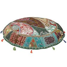 Patchwork Cotton Floor Cushion Cover Indian Embroidered Ottoman Cover Throw