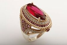 Turkish Handmade Jewelry Long Oval Ruby Topaz 925 Sterling Silver Ring Size