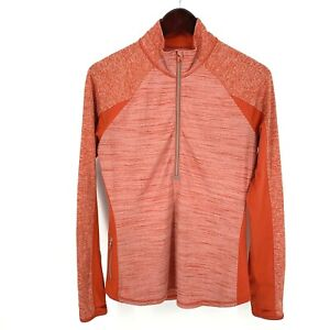 Athleta Womens Running Wild Half Zip Pullover Jacket Fitted Orange Size Medium