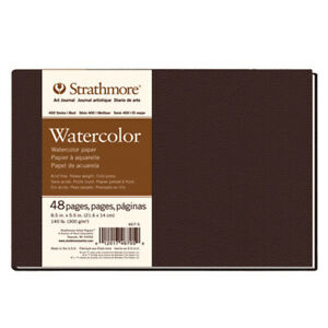"""Strathmore Hardbound Journal 400 Series Watercolor Paper 140lb 8.5x5.5"""" 48 Pages"""