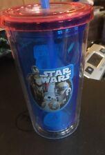 NEW STAR WARS KIDS / ADULT 12oz PS DOUBLE WALLED CUP SCREW LID & STRAW ZAK! (RK)