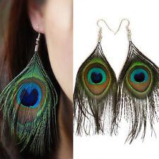 Boho Women Peacock Feather Hook Dangle Earrings Eardrop Studs Gift Jewelry