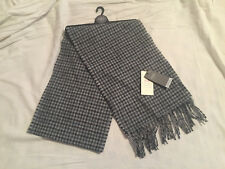 M&S Mens Blue & Grey Pure Wool Dogs Tooth Lambswool Scarf BNWT RRP £25