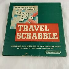 Vintage Travel Scrabble by Spears Games With Official Scrabble Bag Clip In Tiles