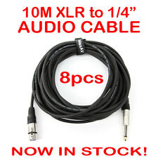 """8x 10-Metre QUALITY XLR Female to Male 1/4"""" Microphone Link Cable Lead Cord 10M"""