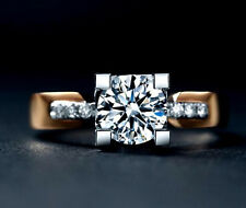 2018 Fashion Jewelry white Sapphire Yellow Gold Filled Wedding Ring Gift Size 7