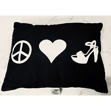 Steve Madden Throw Pillow Peace Love Shoes Black Accent