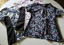 3 Nurses Floral Scrub Tops Scrubs Lot Cherokee Black White Size Small Classy