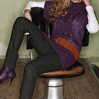 ROLLKRAGEN STRICK PULLOVER sweater LILA Zopfmuster Kimono-Ärmel Gr.32 34 36 XS S