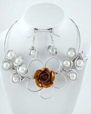 SALE Art Decor Matte Silver White Faux Pearl  Flower Fashion Necklace Set