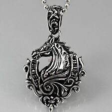 silver HORSE pendant black crystal stainless steel ball chain necklace