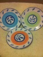 (3) TABLETOPS UNLIMITED--SALAD PLATES--3 COLORS --AUTUMN BLUE--FREE SHIP--VGC