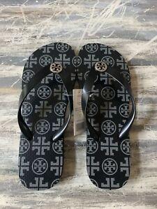TORY BURCH Black  Grey Traveler Square Flip Flop Sandals Silver Logo Size 7 New