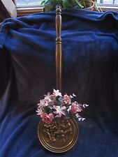 Vintage Brass Bed Warmer Wall Hanging Embossed Planter