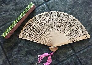 Antique Japanese Wood Sensu Folding Hand Fan with Double Pink Tassels