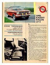 1968 DOCUMENT (ref JG 033) AUTO : OPEL KADETT RALLYE 1,9 S  1p