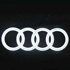 AUDI LED  3D FRONT EMBLEM BADGE RINGS LOGO WHITE  LIGHTS  CAR A1 A3 A4 A5 S5 A6