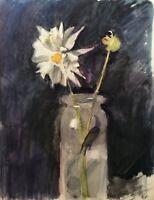 Alfred Vogel Freiburg Stillleben Margerite Weiße Blume in der Vase - Jugendstil