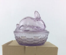 Longaberger Tabletop Glass Easter Bunny Dish Lavender #30577