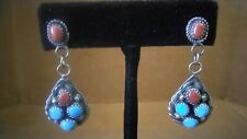 Native American Navajo Sterling Sleeping Beauty Turquoise Coral Dangle Earrings.