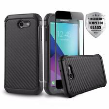 COMBAT COVER PHONE CASE FOR [SAMSUNG GALAXY J7 SKY PRO] +BLACK TEMPERED GLASS