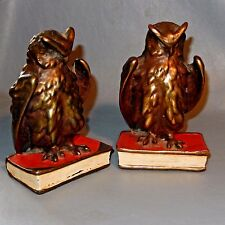 Antique Bronze Clad Polychrome OWL Bookends Pompeian Red White Paint Book Copper