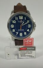 New Timex TW4B16000, Men's Expedition Field Brown Leather Watch Blue Dial W21