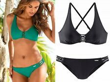 a4ef3e2778b4f Bruno Banani Bikini Set Slip Badehose + Bügel-BH Schwarz Gr 38 B Badeanzug