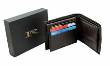 Mens Genuine Leather Wallet Purse With 6 Cards, ID Pocket Gift Boxed RGX05 Brown