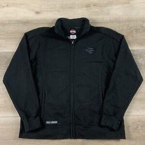 Women's Harley Davidson Full Zip Fleece Sweatshirt Long Sleeve Black Size L