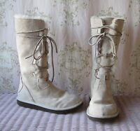 Rare! UGG *Whitley* Sand Cream Suede Sheepskin Tall Lace-Up Winter Boots 5.5/6.5