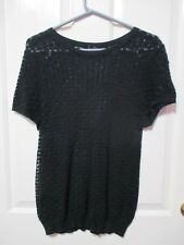 LADIES BLACK SHORT SLEEVED STRETCHY LACE TOP SIZE 14