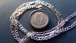 "1939 Irish IRELAND Harp, Hound Sixpence Pendant w/ 28"" Silver Italy 3mm Chain"