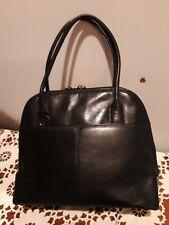 OROTON Black Genuine Leather Handbag Red Zip Tabs