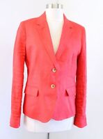 J Crew Factory Schoolboy Blazer in Linen Size 8 Red - Orange Suit Jacket Womens