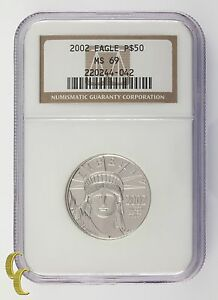 2002 Platinum P$50 1/2 Ounce Statue of Liberty Graded by NGC as MS-69