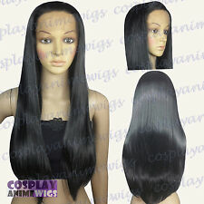 70cm Lace Front Black Heat Styleable Long Cosplay Wigs T_001