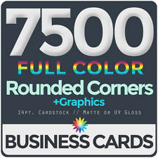 7500 Full Color Business Cards BothSides ROUNDED CORNERS, FREE DESIGN & SHIPPING