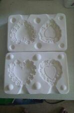 Bil Mac mold #1169 pair of beautiful ornate heart ornaments