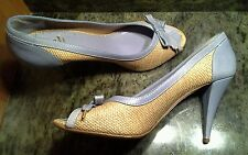MOSCHINO CHEAP&CHIC US Size10 M Straw/Leather Light Blue/Tan Peep Toe ITALY