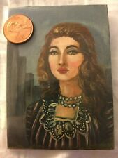 ACEO original OIL painting city girl classical historical portrait realism face