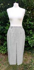 VTG Catherina Hepfer wool Grid Check Midi Skirt UK 12 Pockets Single Pleat 90s