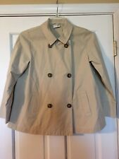J. JILL Jacket Trench Size Petite Small Double Breasted 100% Cotton Tan